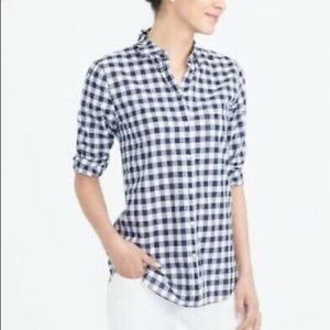 J Crew Perfect Shirt Blue Gingham 4